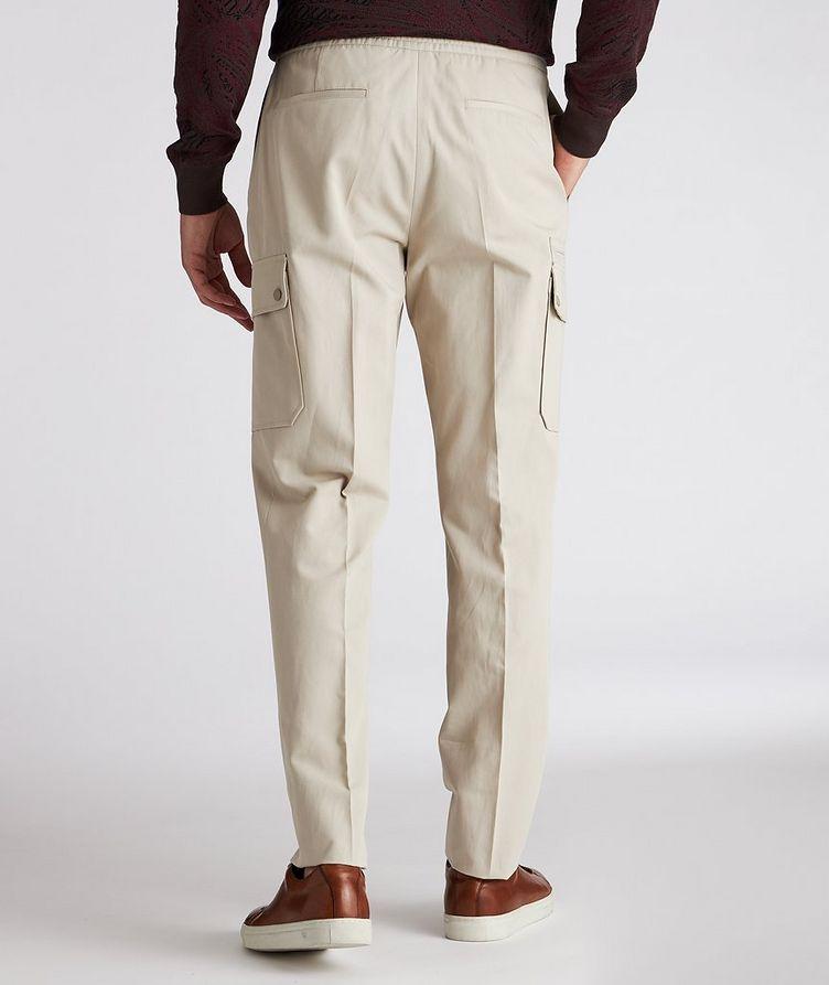 Pantalon sport en coton et lin à poches cargo et à cordon image 2