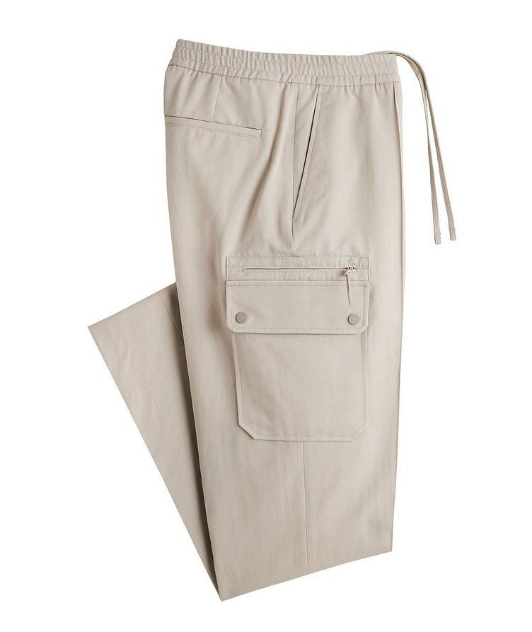 Pantalon sport en coton et lin à poches cargo et à cordon image 0