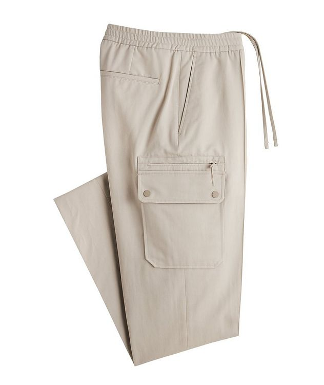 Drawstring Cotton-Linen Cargo Joggers picture 1