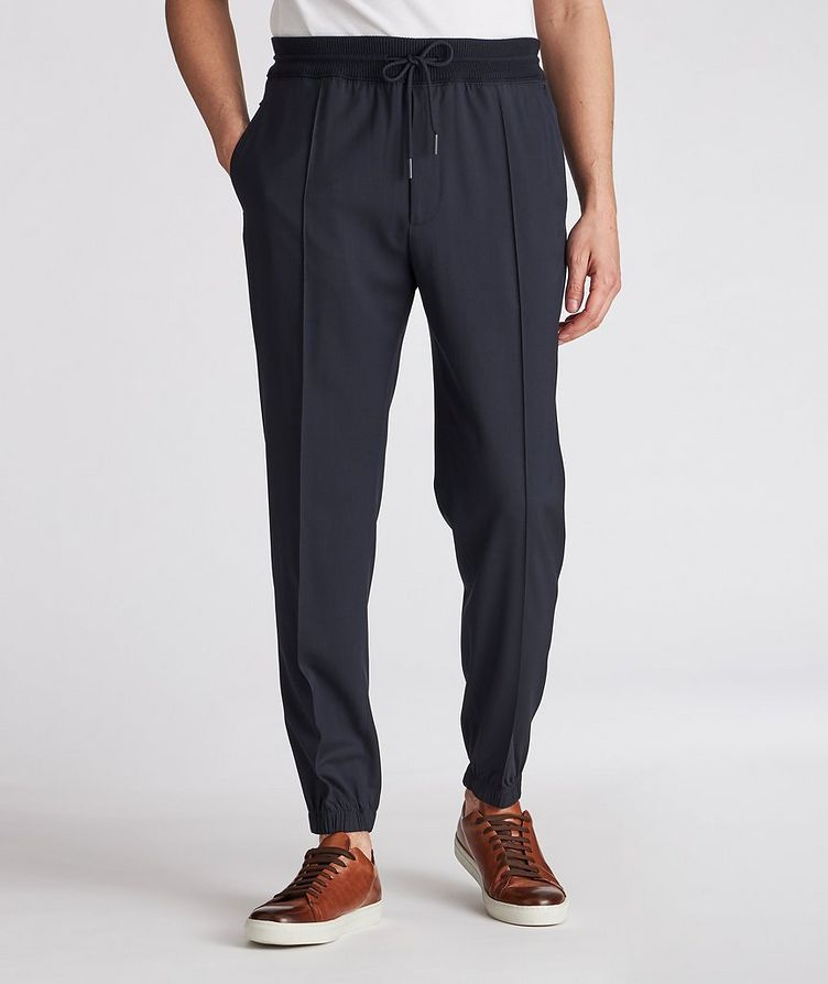 Pleated Wool Drawstring Joggers image 1