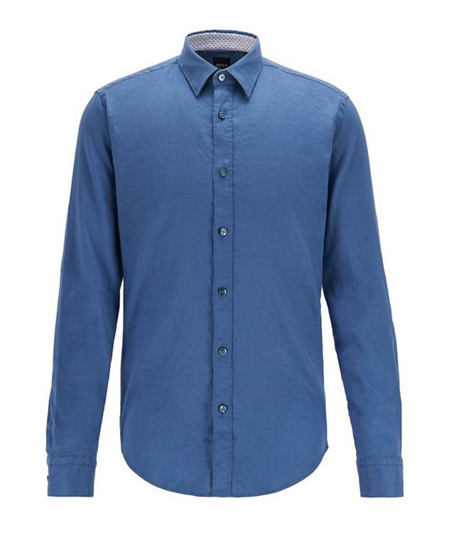 Slim-Fit Stretch-Linen Shirt picture 1