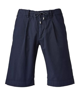 Canali Patterned Jogger Fit Stretch-Cotton Shorts