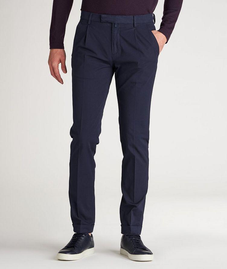 Patterned Slim Fit Stretch-Cotton Pants image 1