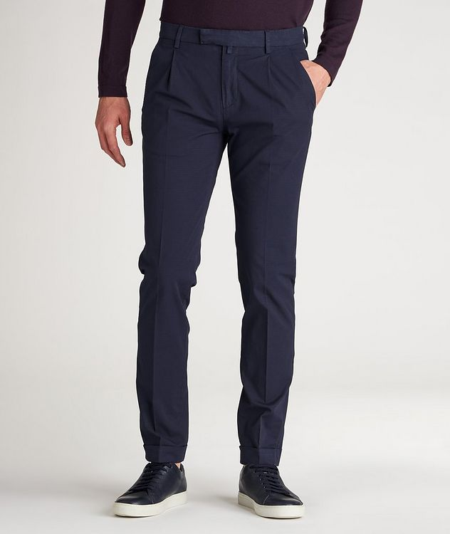 Patterned Slim Fit Stretch-Cotton Pants picture 2