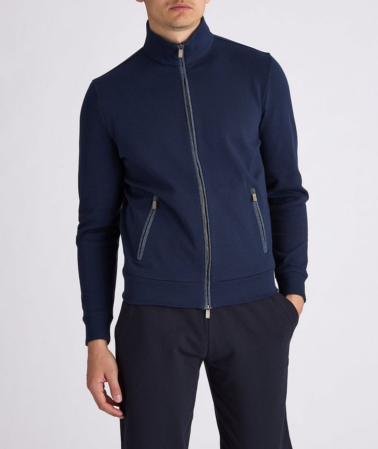 Cotton-Blend Zip-Up Sweater image 1