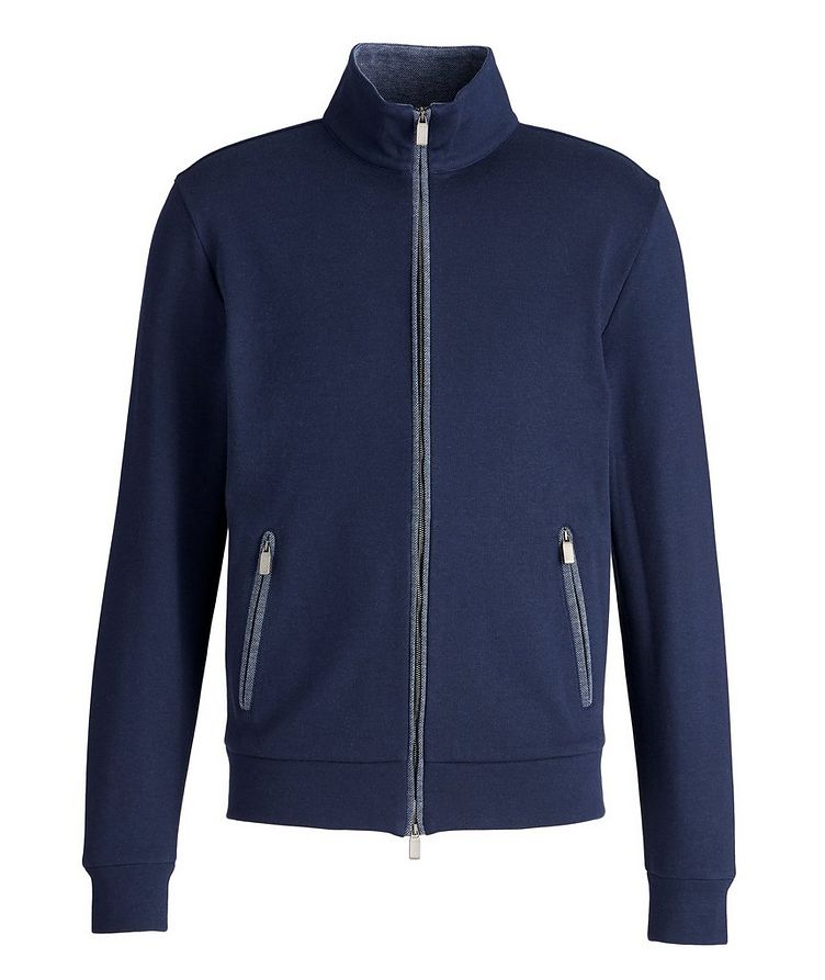 Cotton-Blend Zip-Up Sweater image 0