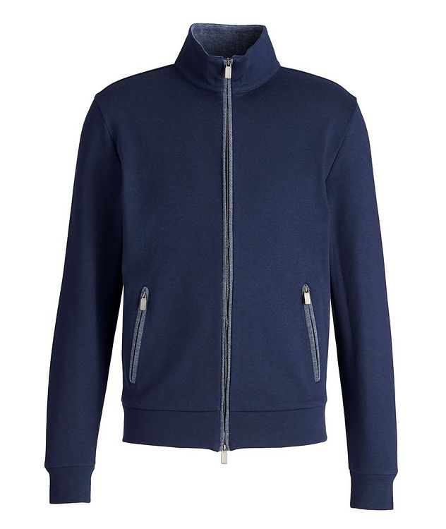 Cotton-Blend Zip-Up Sweater picture 1