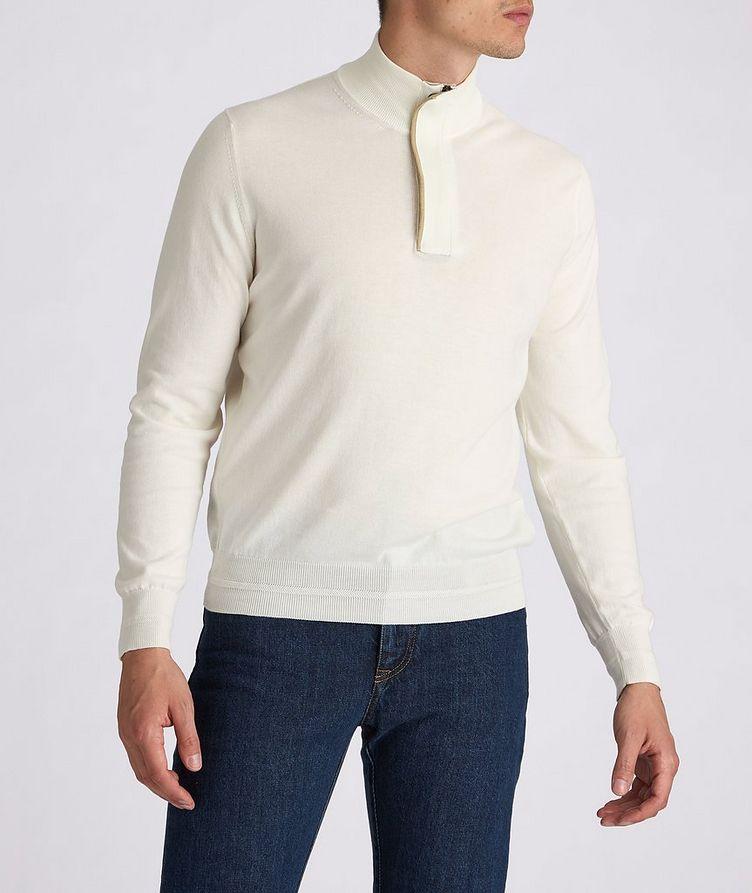 Half-Zip Knit Cotton Sweater image 1