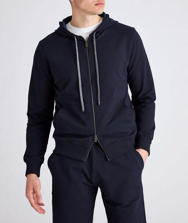 Zip-Up Stretch-Cotton Hoodie picture 2