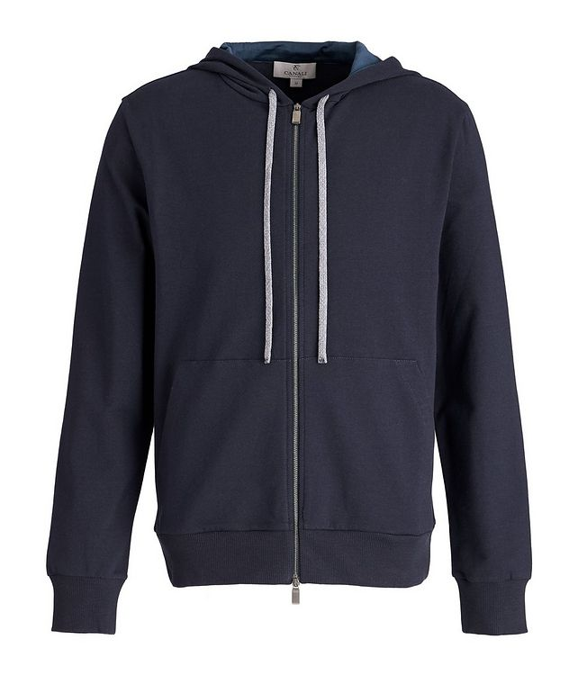 Zip-Up Stretch-Cotton Hoodie picture 1