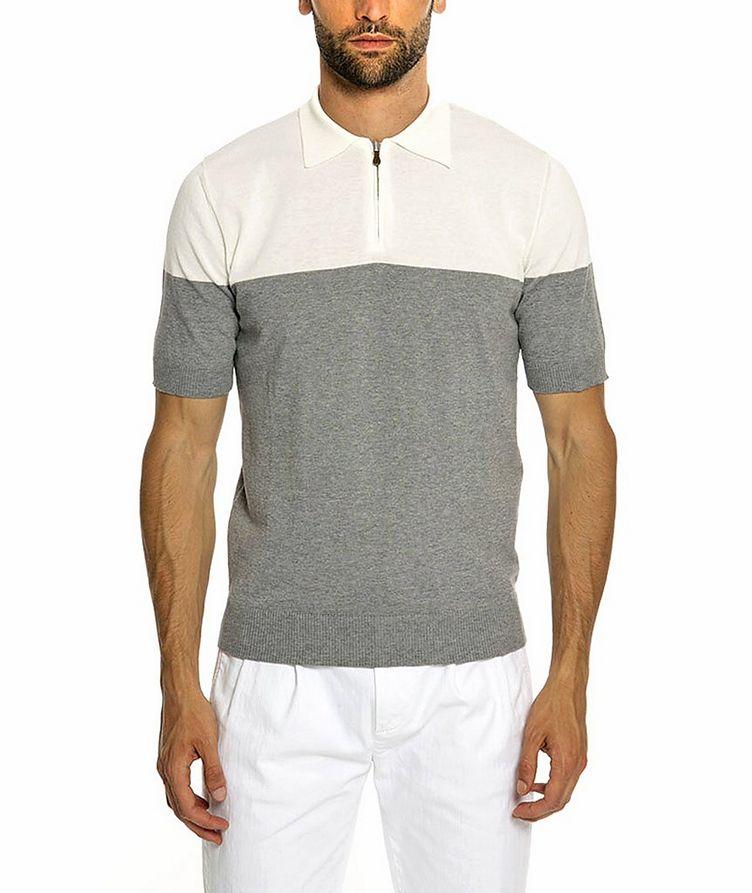 Quarter-Zip Knit Cotton Polo image 0