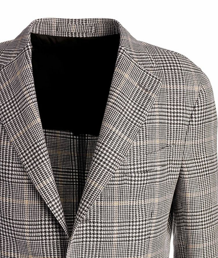 Linen-Wool-Silk Houndstooth Sports Jacket image 2
