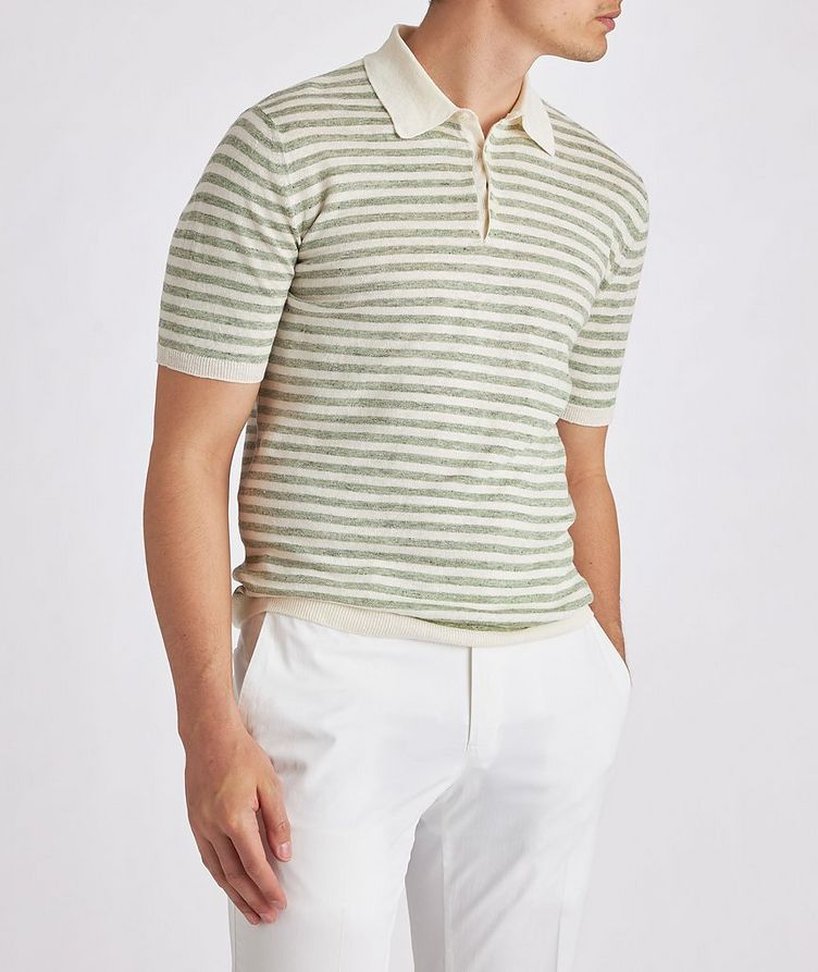 Striped Knit Linen Polo image 1