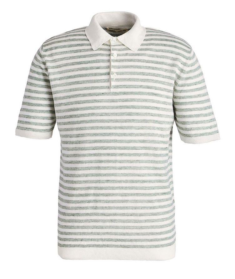 Striped Knit Linen Polo image 0