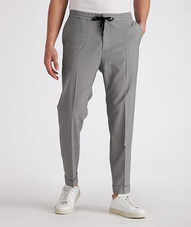 Isha Open Weave Stretch-Wool Blend Drawstring Pants picture 2