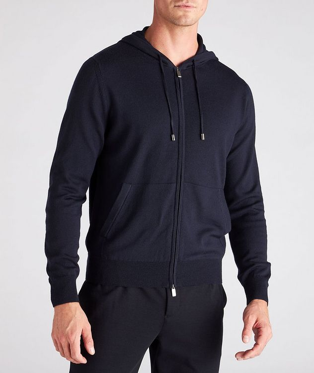 Hooded Zip-Up Wool Sweater picture 2