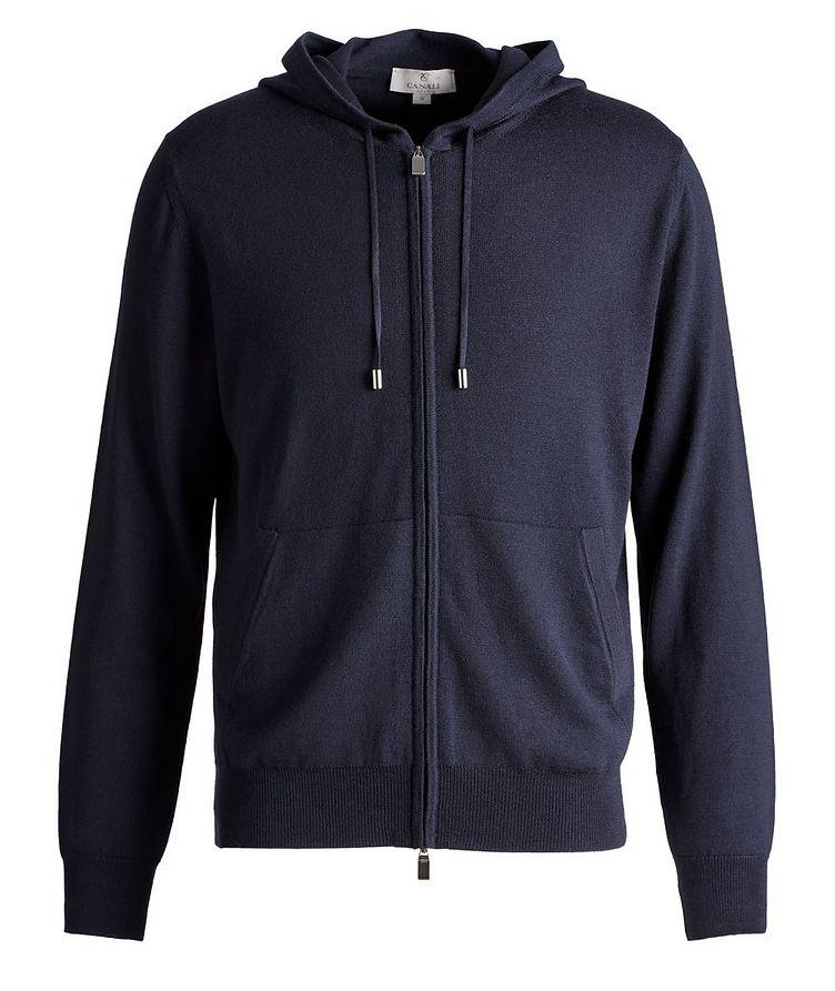 Hooded Zip-Up Wool Sweater image 0