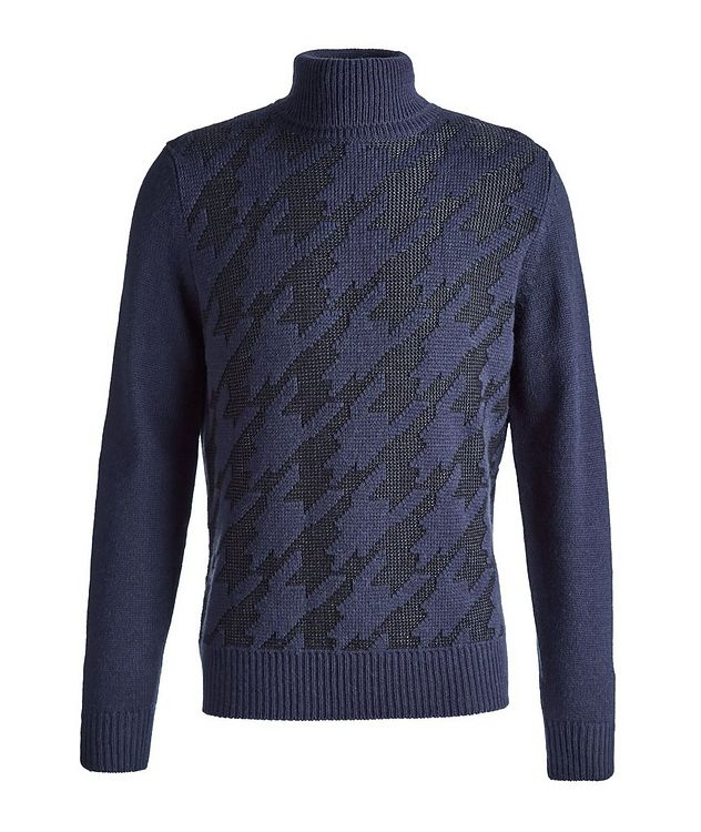 Houndstooth Wool-Blend Turtleneck picture 1