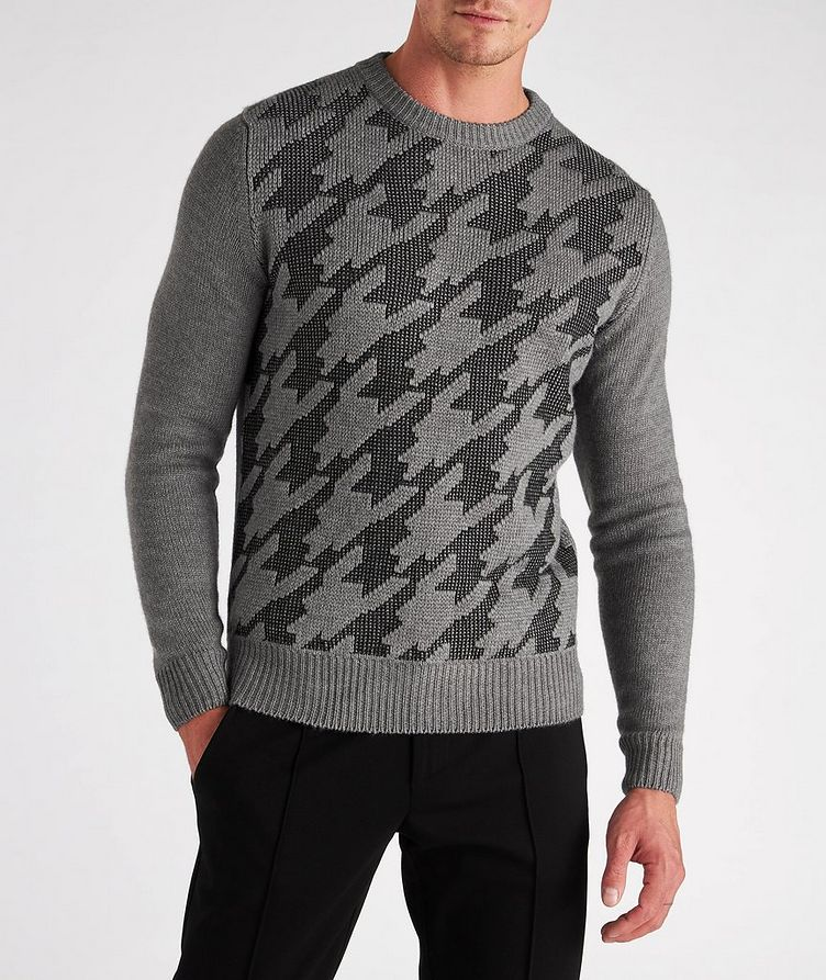 Houndstooth Wool-Cotton Blend Sweater image 1