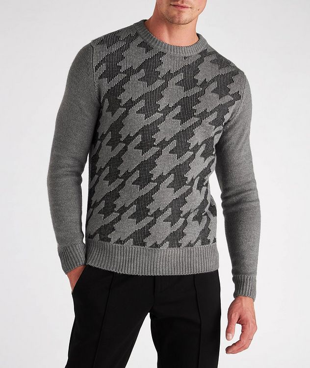 Houndstooth Wool-Cotton Blend Sweater picture 2