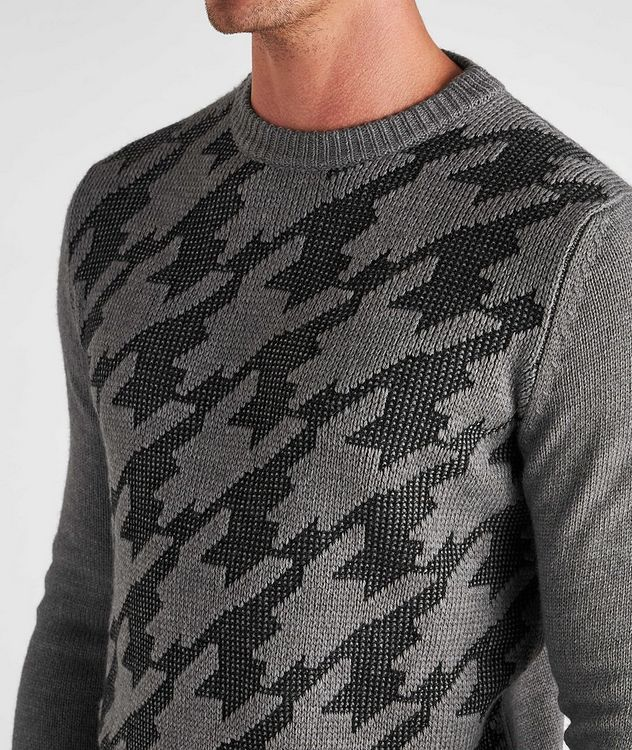 Houndstooth Wool-Cotton Blend Sweater picture 3