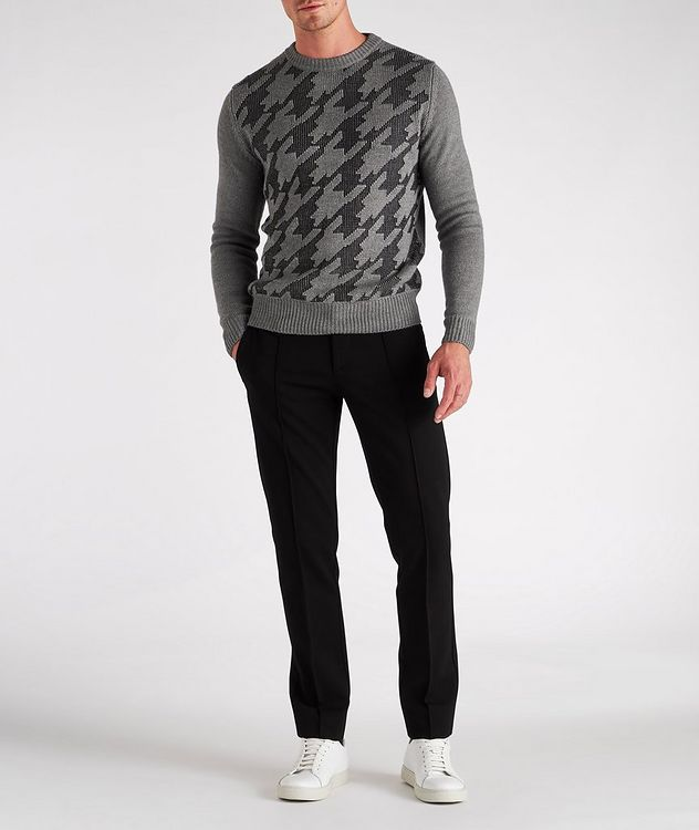Houndstooth Wool-Cotton Blend Sweater picture 4
