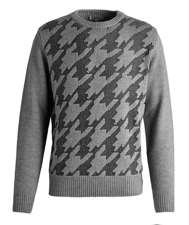 Houndstooth Wool-Cotton Blend Sweater picture 1