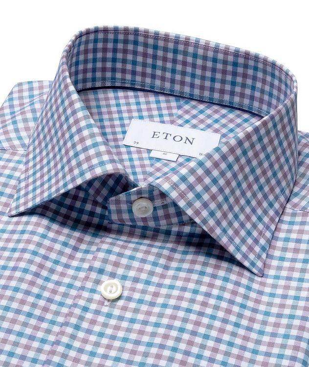 Slim Fit Micro-Check Cotton-Linen Shirt picture 2