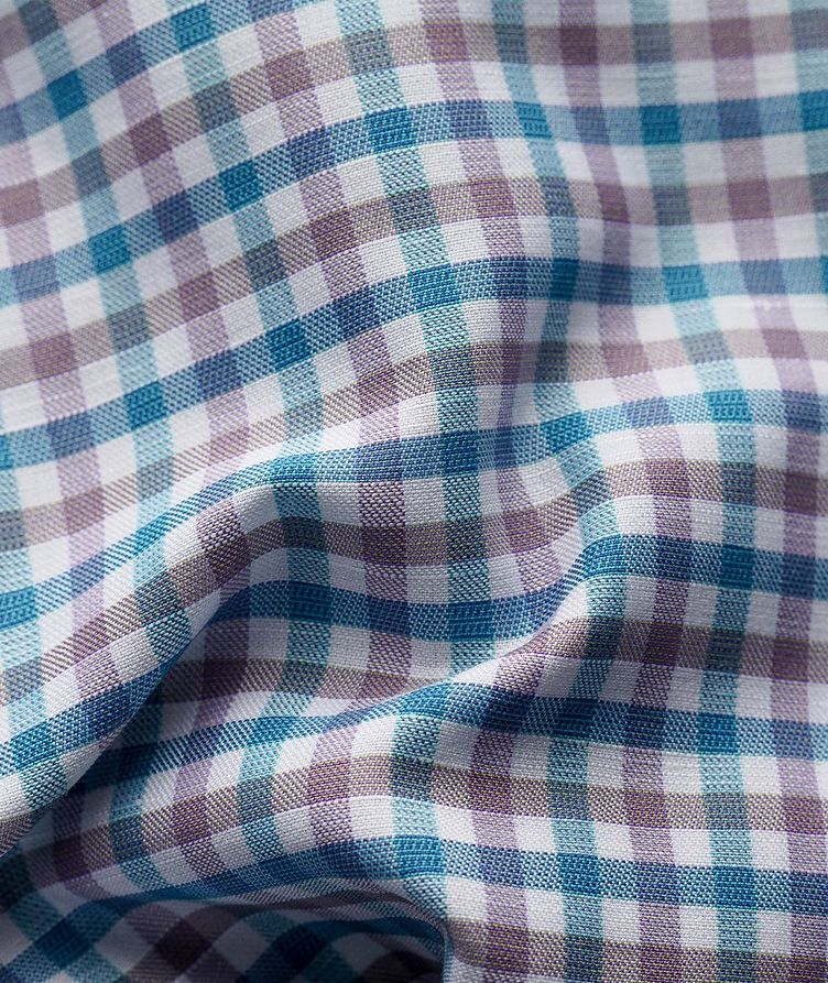 Slim Fit Micro-Check Cotton-Linen Shirt image 2