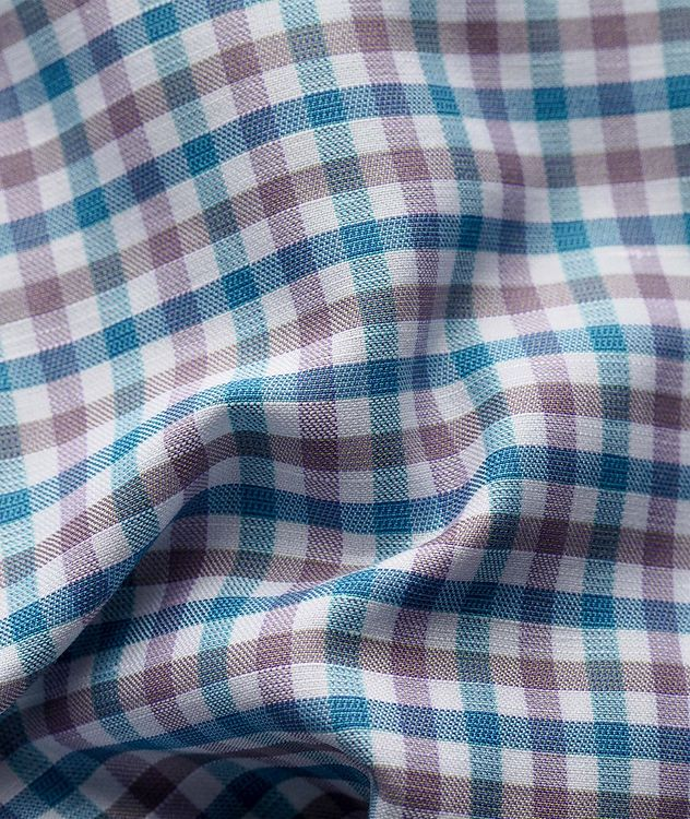 Slim Fit Micro-Check Cotton-Linen Shirt picture 3
