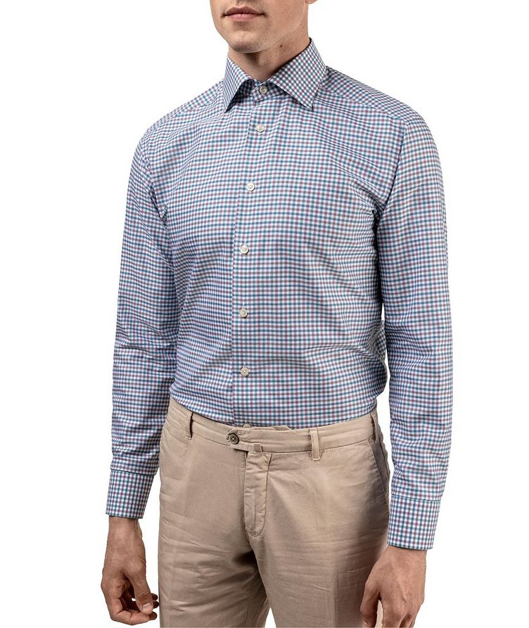 Slim Fit Micro-Check Cotton-Linen Shirt image 3