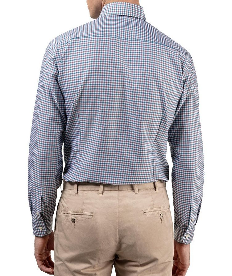 Slim Fit Micro-Check Cotton-Linen Shirt image 4