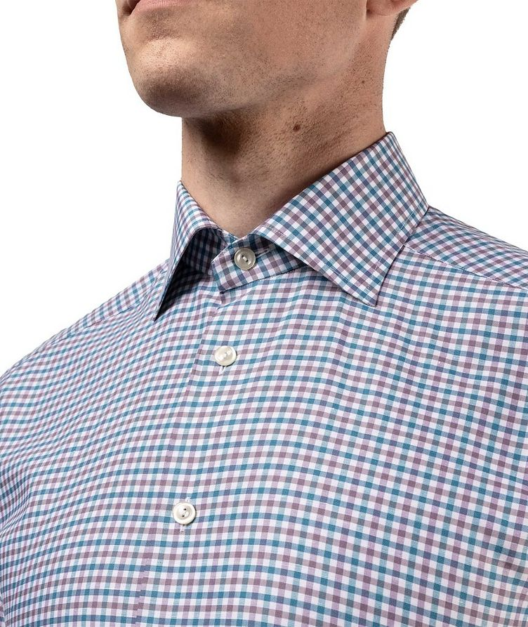 Slim Fit Micro-Check Cotton-Linen Shirt image 5