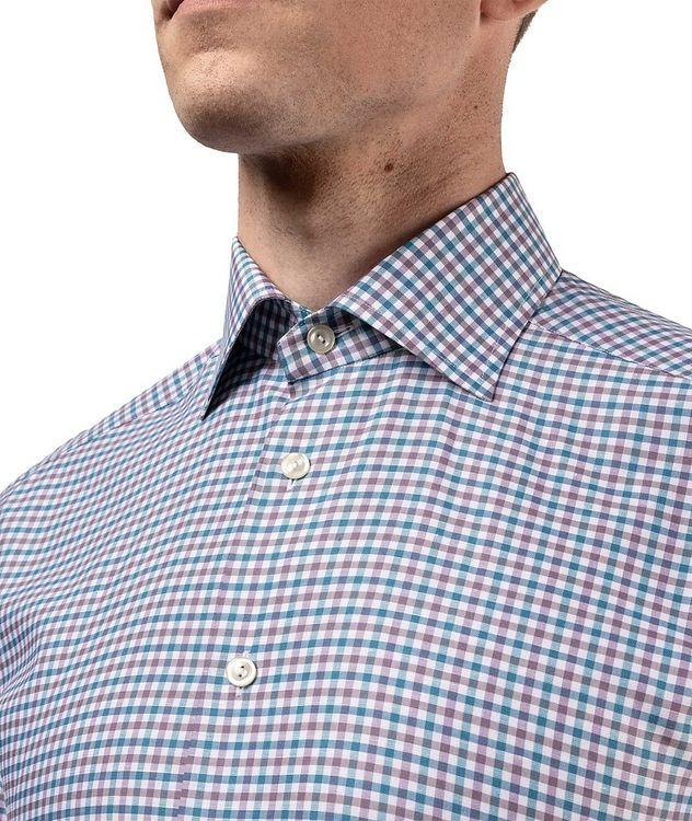 Slim Fit Micro-Check Cotton-Linen Shirt picture 6
