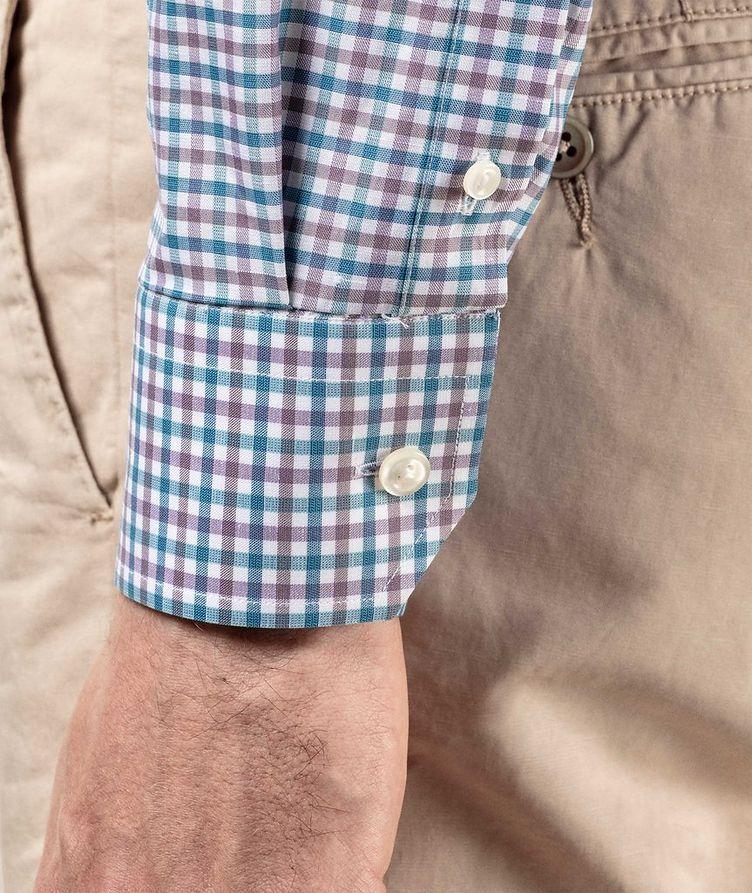 Slim Fit Micro-Check Cotton-Linen Shirt image 6