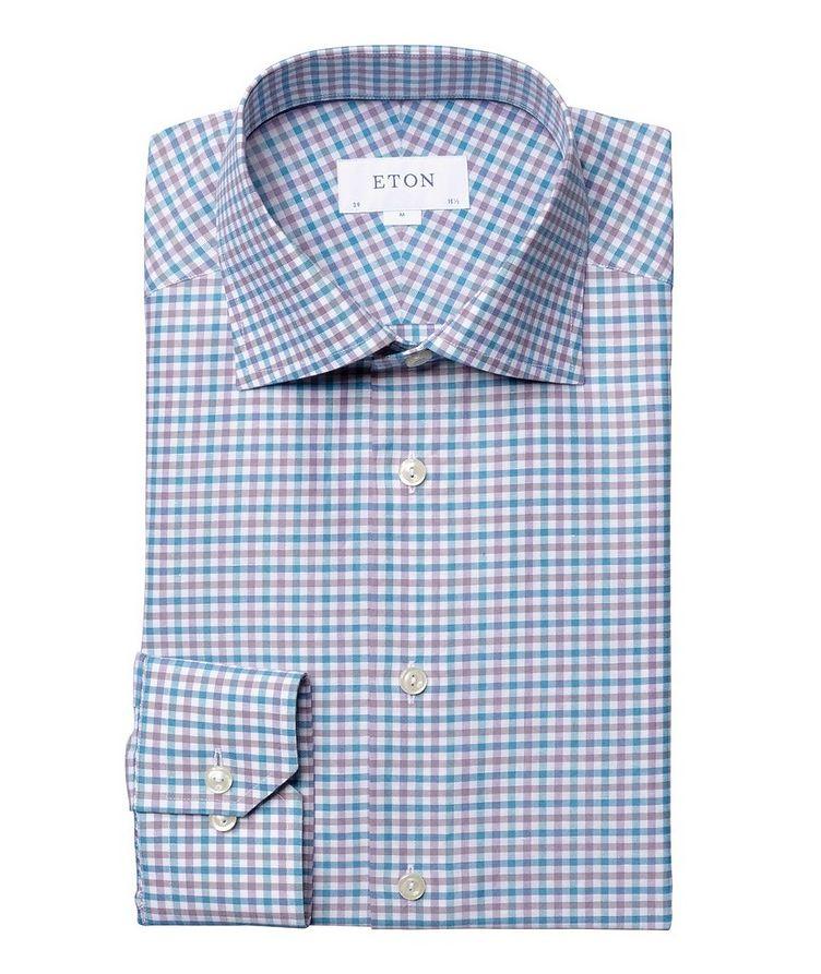 Slim Fit Micro-Check Cotton-Linen Shirt image 0