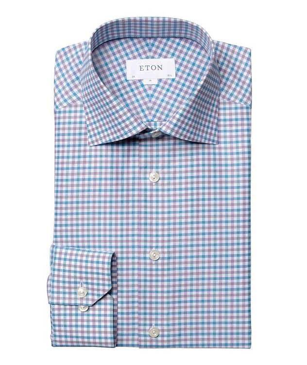 Slim Fit Micro-Check Cotton-Linen Shirt picture 1