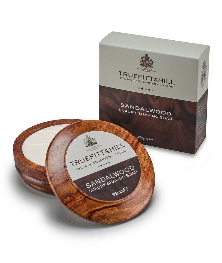 Sandalwood Lux Shaving Soap in Wooden Bowl image 1