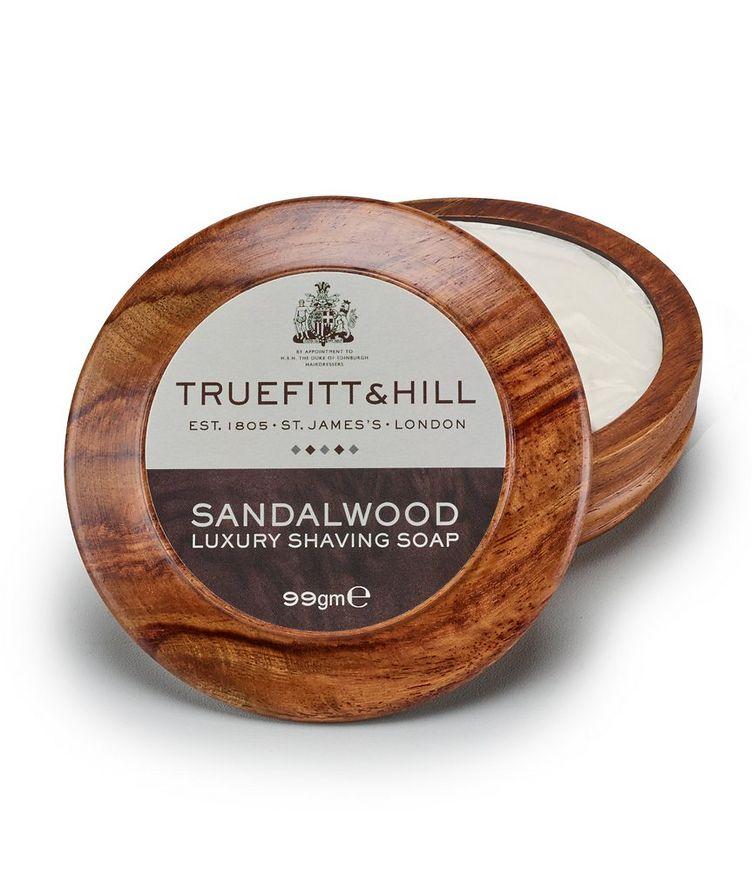 Sandalwood Lux Shaving Soap in Wooden Bowl image 0