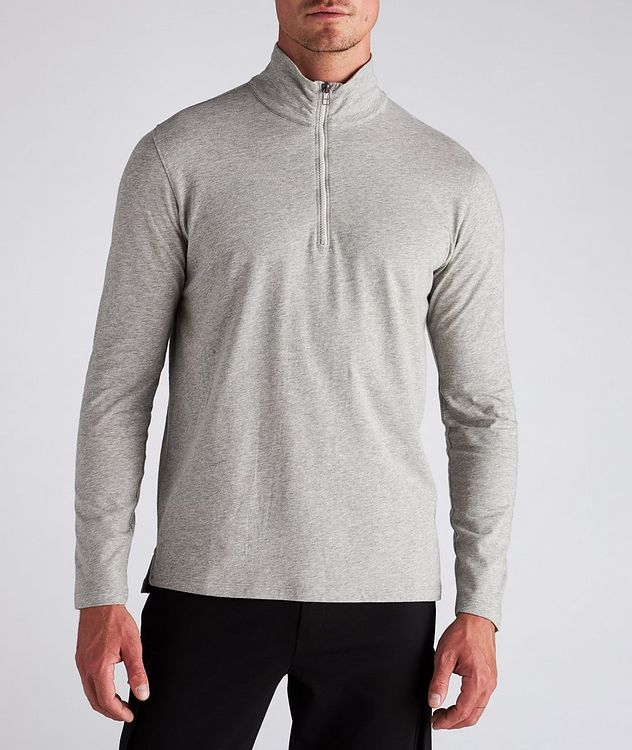 Half-Zip Long-Sleeve Cotton T-Shirt picture 2