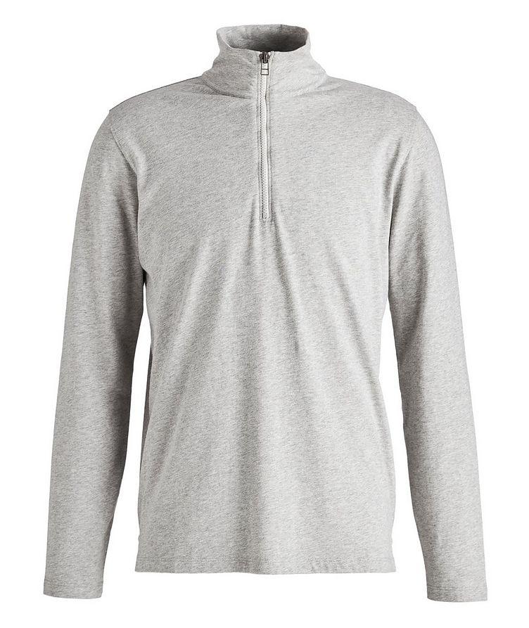 Half-Zip Long-Sleeve Cotton T-Shirt image 0