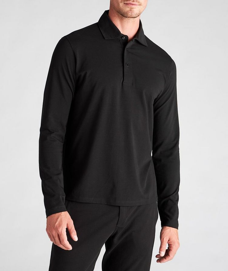 Long-Sleeve Stretch-Cotton Polo image 1