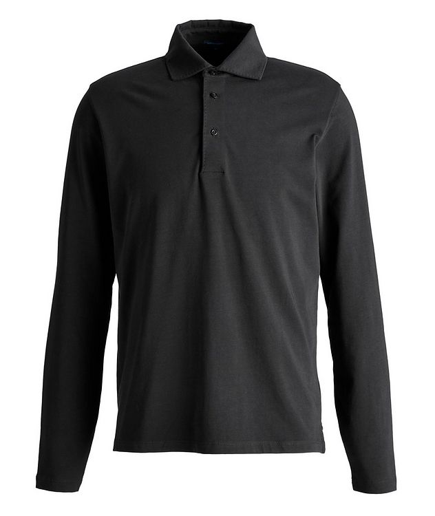 Long-Sleeve Stretch-Cotton Polo picture 1