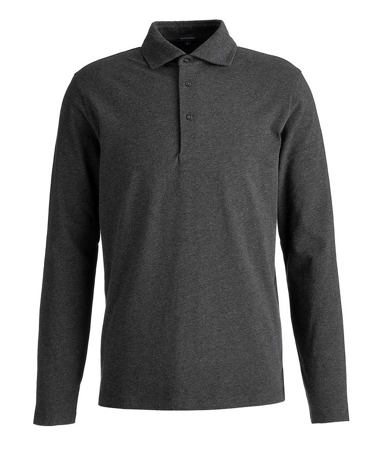 Long-Sleeve Stretch-Cotton Polo image 0