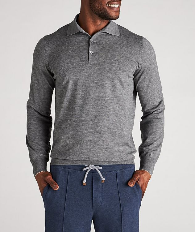 Long-Sleeve Wool-Cashmere Polo picture 2