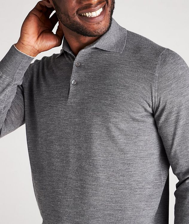 Long-Sleeve Wool-Cashmere Polo picture 4