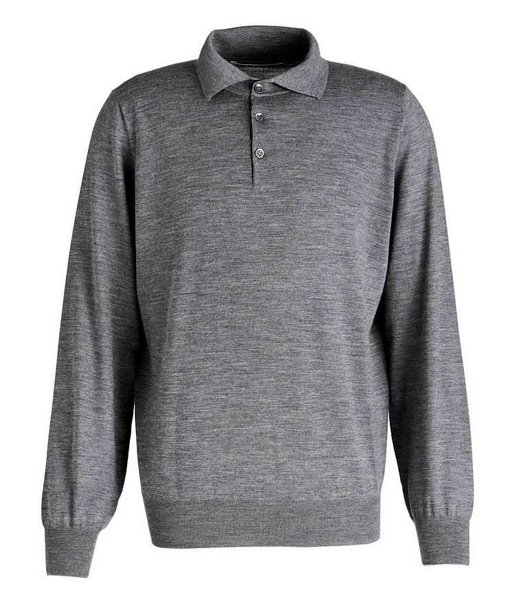 Long-Sleeve Wool-Cashmere Polo image 0