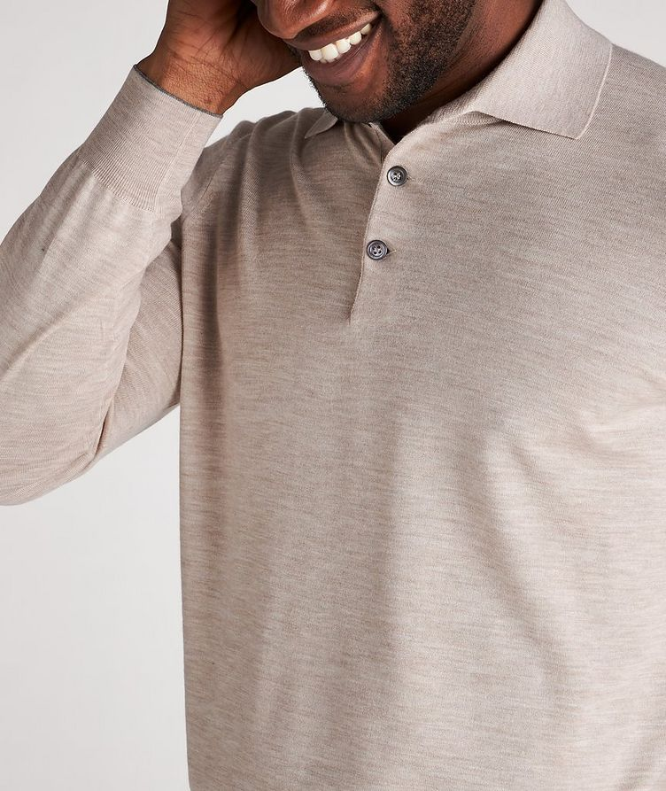 Long-Sleeve Wool-Cashmere Polo image 3