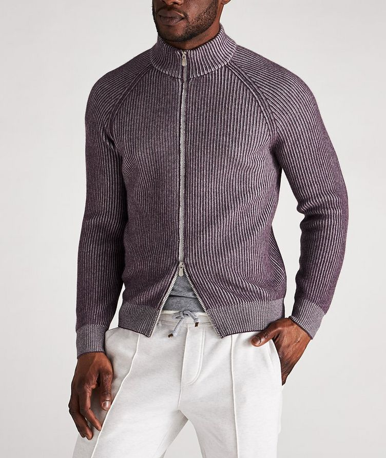 Zip-Up Striped Cashmere Sweater image 1