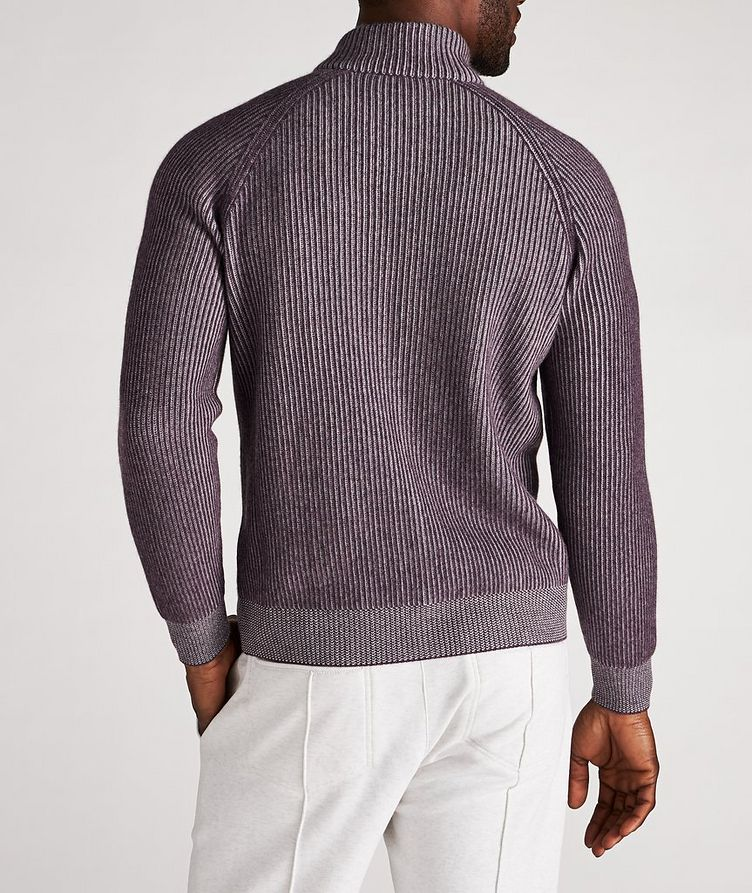 Zip-Up Striped Cashmere Sweater image 2